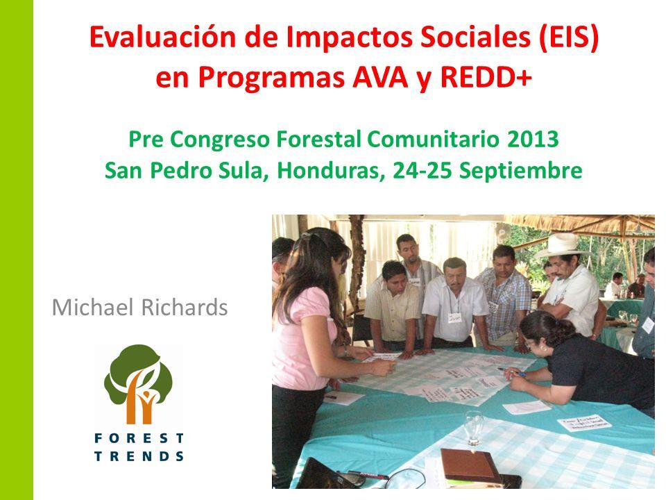 Evaluación de Impactos Sociales (EIS) en Programas AVA y REDD+ Pre Congreso Forestal Comunitario 2013 San Pedro Sula, Honduras, 24-25 Septiembre Micha