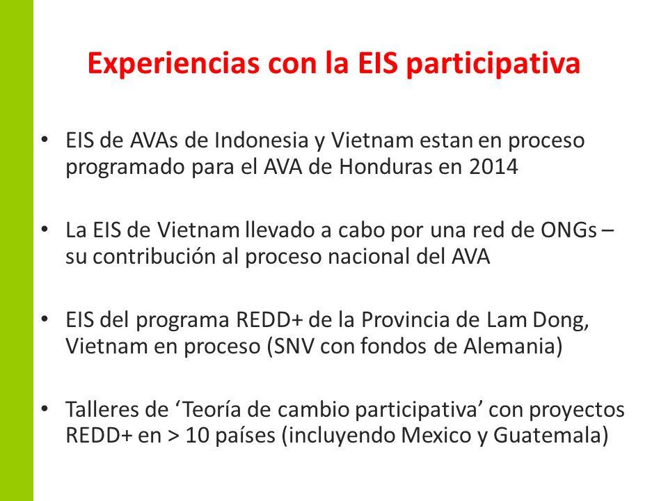 Experiencias con la EIS participativa EIS de AVAs de Indonesia y Vietnam estan en proceso programado para el AVA de Honduras en 2014 La EIS de Vietnam