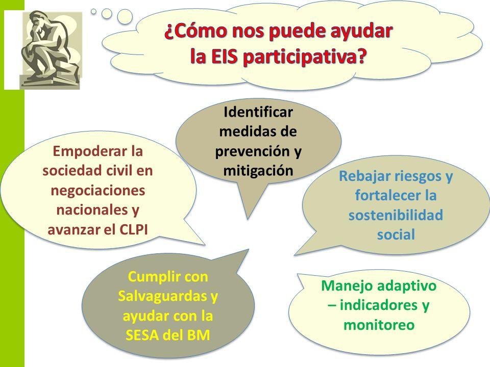 Rebajar riesgos y fortalecer la sostenibilidad social Identificar medidas de prevención y mitigación Cumplir con Salvaguardas y ayudar con la SESA del