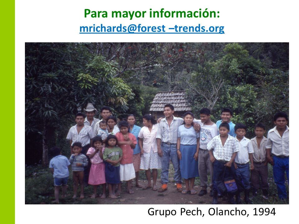 Para mayor información: mrichards@forest –trends.org Grupo Pech, Olancho, 1994