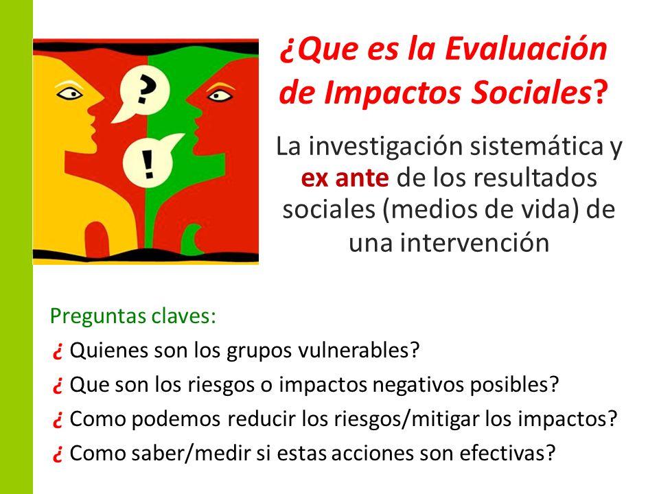 ¿Que es la Evaluación de Impactos Sociales? La investigación sistemática y ex ante de los resultados sociales (medios de vida) de una intervención Pre