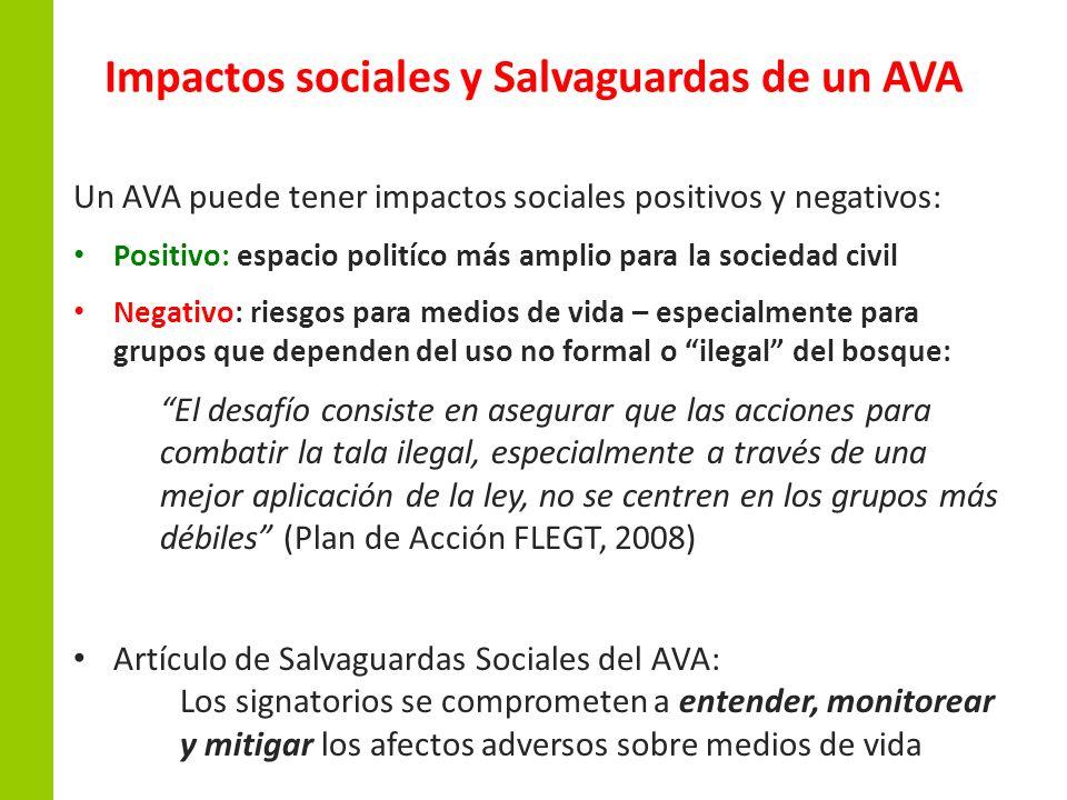 Impactos sociales y Salvaguardas de un AVA Un AVA puede tener impactos sociales positivos y negativos: Positivo: espacio politíco más amplio para la s