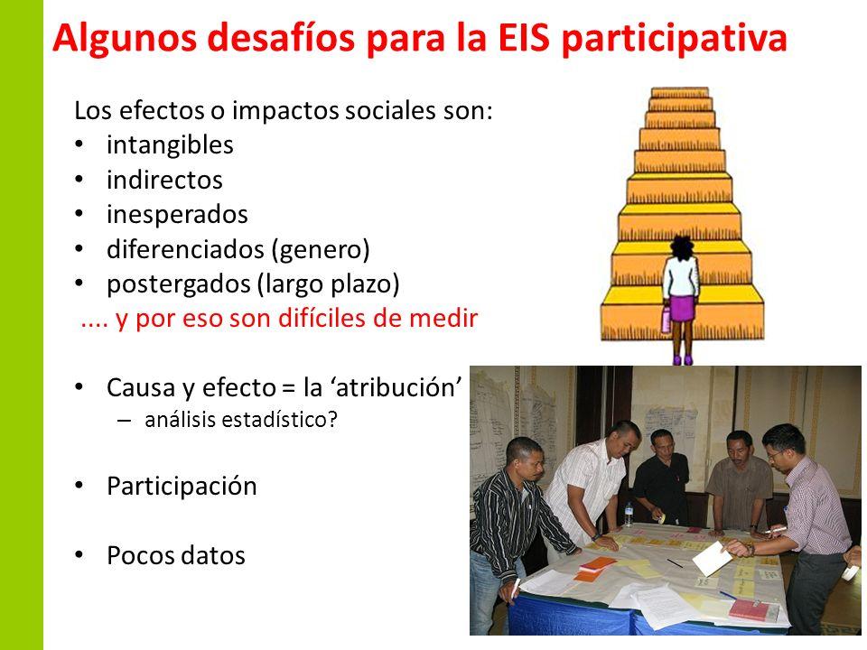 Algunos desafíos para la EIS participativa Los efectos o impactos sociales son: intangibles indirectos inesperados diferenciados (genero) postergados