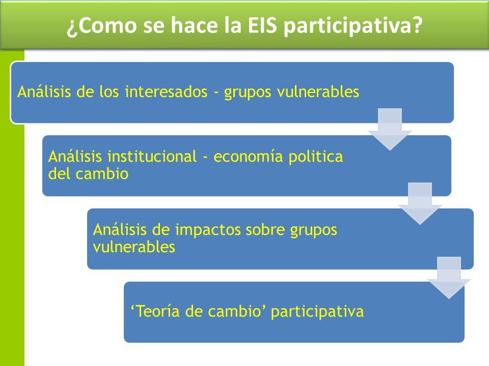 ¿Como se hace la EIS participativa? Análisis de los interesados - grupos vulnerables Análisis institucional - economía politica del cambio Análisis de