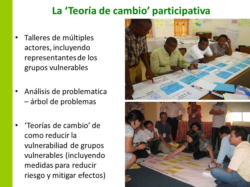 La Teoría de cambio participativa Talleres de múltiples actores, incluyendo representantes de los grupos vulnerables Análisis de problematica – árbol