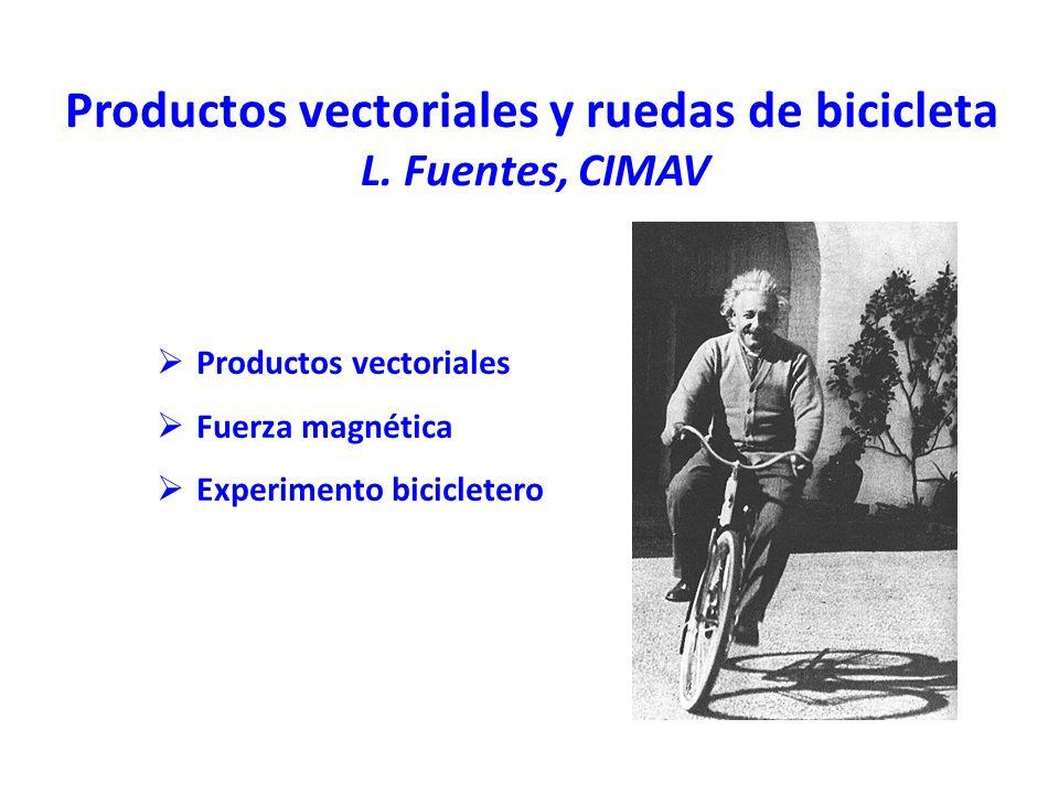 Productos vectoriales y ruedas de bicicleta L. Fuentes, CIMAV Productos vectoriales Fuerza magnética Experimento bicicletero