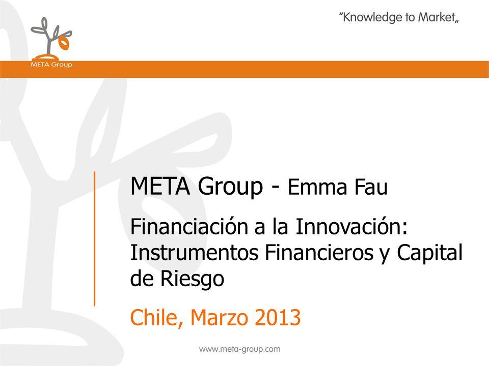 META Group - Emma Fau Financiación a la Innovación: Instrumentos Financieros y Capital de Riesgo Chile, Marzo 2013