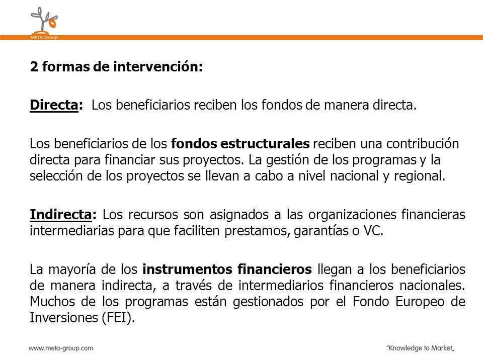 2 formas de intervención: Directa: Los beneficiarios reciben los fondos de manera directa. Los beneficiarios de los fondos estructurales reciben una c
