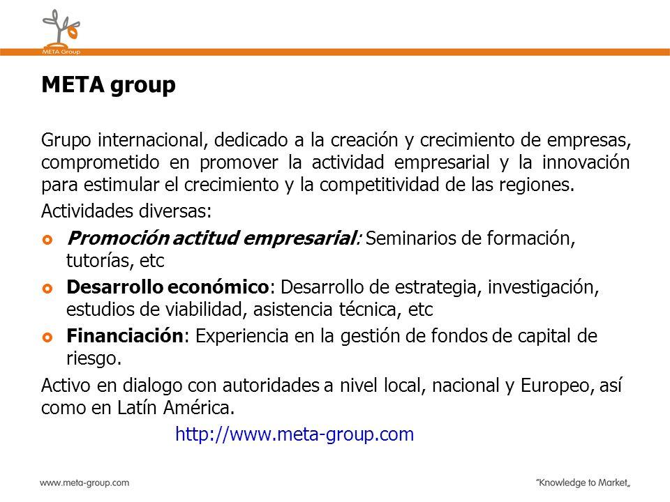 META group Grupo internacional, dedicado a la creación y crecimiento de empresas, comprometido en promover la actividad empresarial y la innovación pa