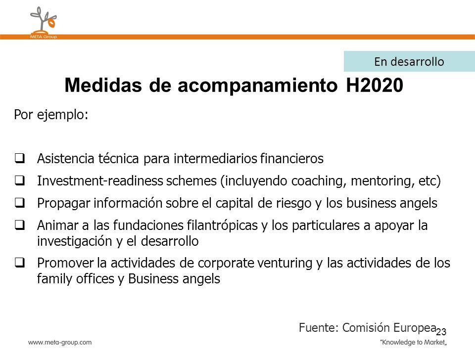 23 Por ejemplo: Asistencia técnica para intermediarios financieros Investment-readiness schemes (incluyendo coaching, mentoring, etc) Propagar informa