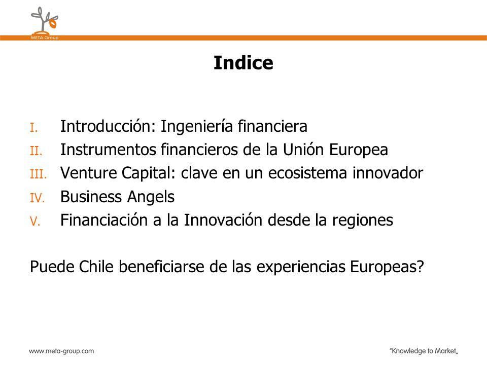 Indice I. Introducción: Ingeniería financiera II. Instrumentos financieros de la Unión Europea III. Venture Capital: clave en un ecosistema innovador