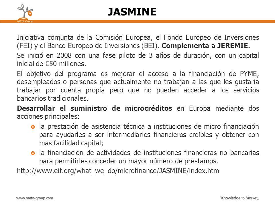 Iniciativa conjunta de la Comisión Europea, el Fondo Europeo de Inversiones (FEI) y el Banco Europeo de Inversiones (BEI). Complementa a JEREMIE. Se i