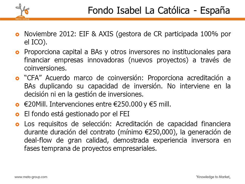 Fondo Isabel La Católica - España Noviembre 2012: EIF & AXIS (gestora de CR participada 100% por el ICO). Proporciona capital a BAs y otros inversores