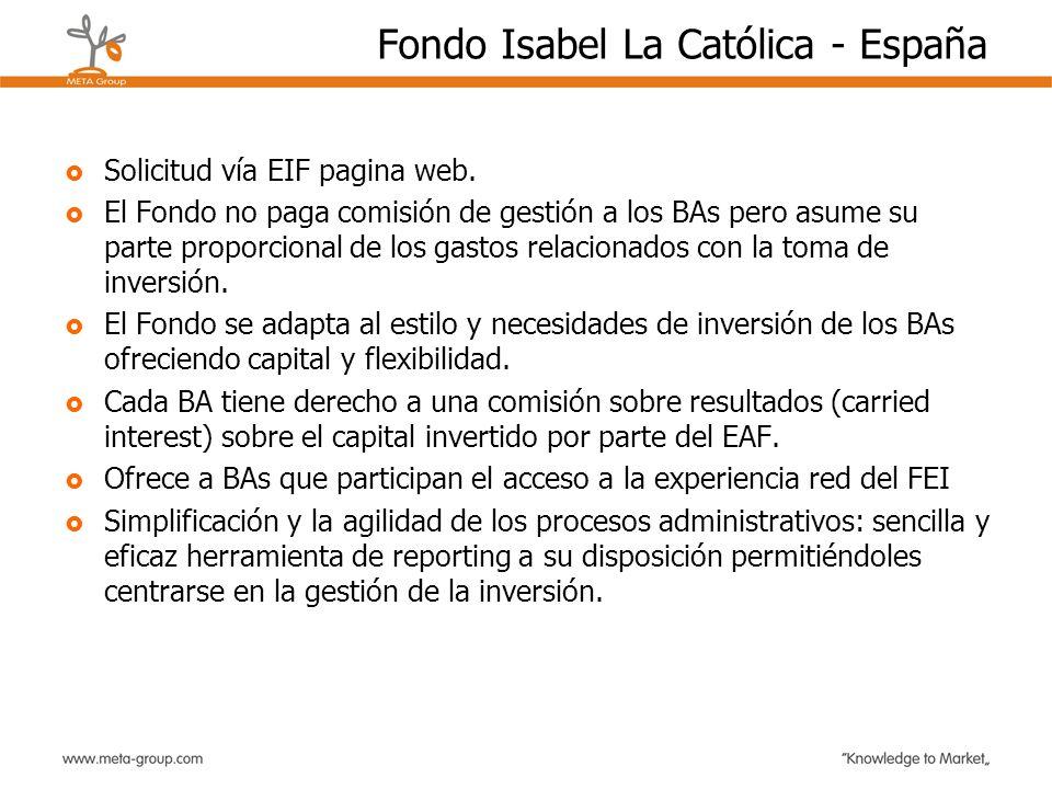 Fondo Isabel La Católica - España Solicitud vía EIF pagina web. El Fondo no paga comisión de gestión a los BAs pero asume su parte proporcional de los