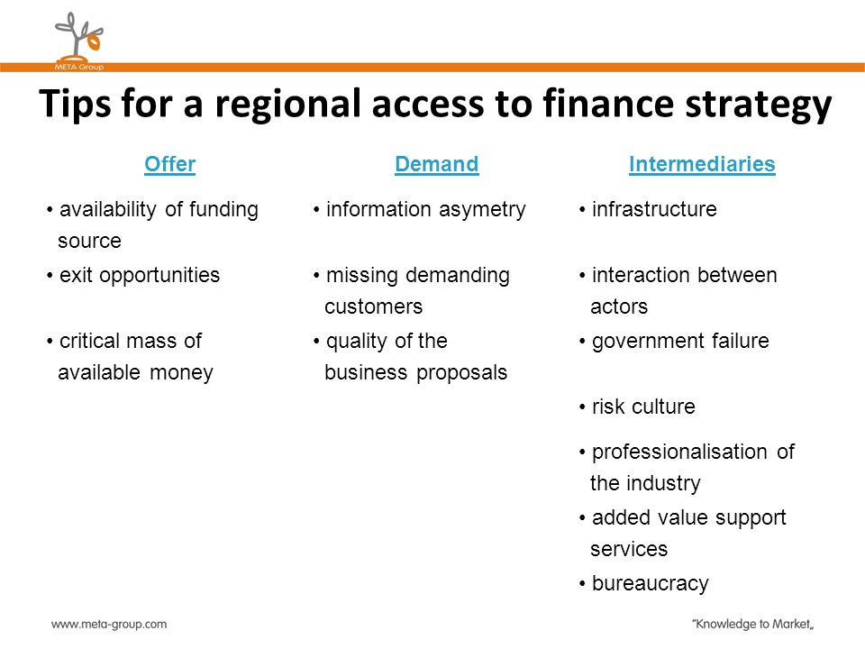Tips for a regional access to finance strategy OfferDemandIntermediaries availability of funding source information asymetry infrastructure exit oppor
