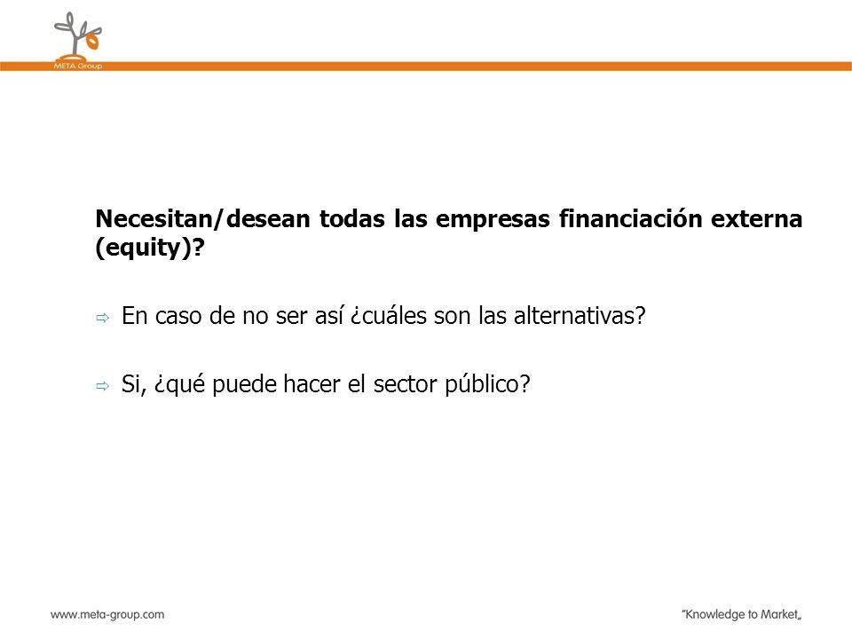 Necesitan/desean todas las empresas financiación externa (equity)? En caso de no ser así ¿cuáles son las alternativas? Si, ¿qué puede hacer el sector