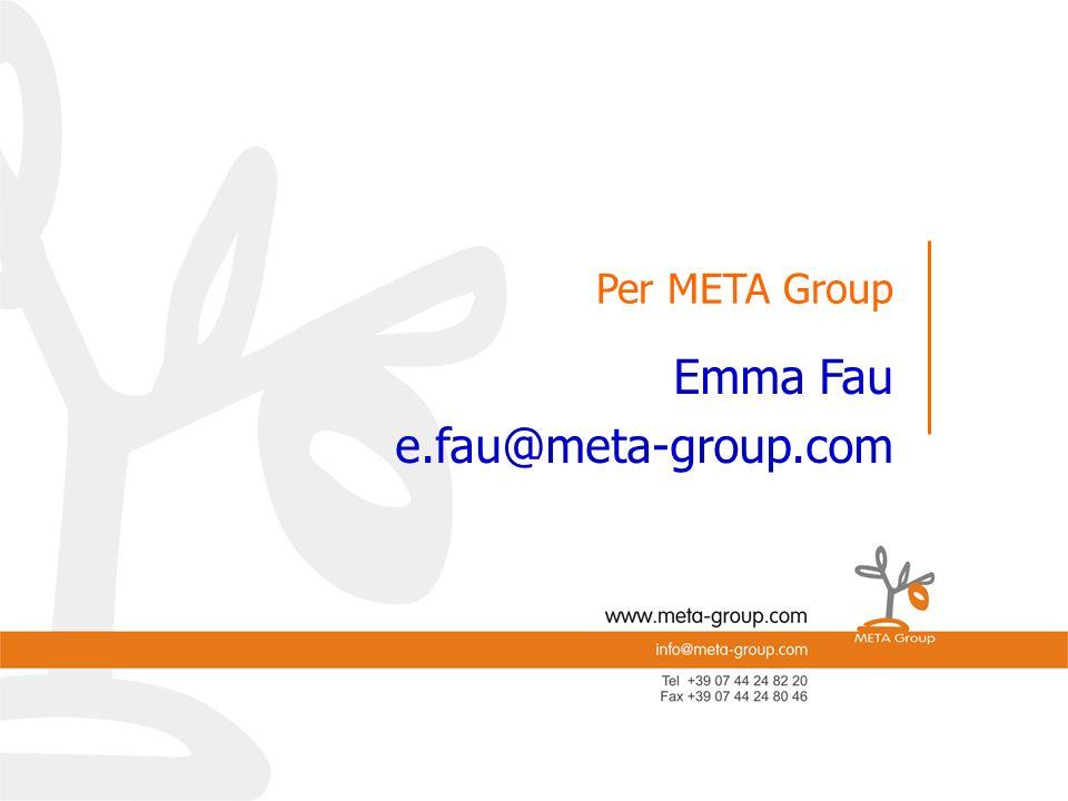 Per META-Group e.mail: Per META-Group Emma Fau e.fau@meta-group.com Per META Group