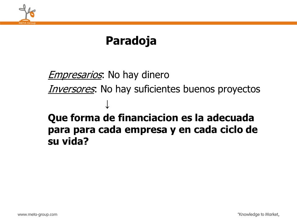 Paradoja Empresarios: No hay dinero Inversores: No hay suficientes buenos proyectos Que forma de financiacion es la adecuada para para cada empresa y