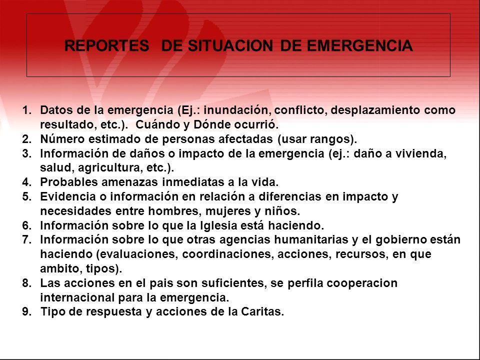 REPORTES DE SITUACION DE EMERGENCIA 1.Datos de la emergencia (Ej.: inundación, conflicto, desplazamiento como resultado, etc.). Cuándo y Dónde ocurrió