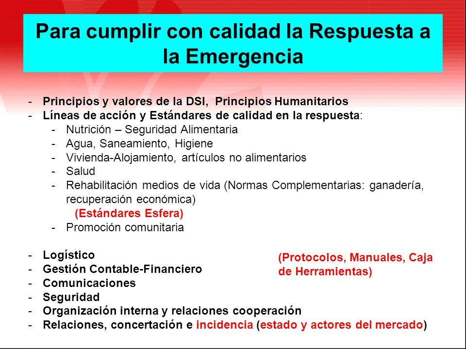 Prici Para cumplir con calidad la Respuesta a la Emergencia -Principios y valores de la DSI, Principios Humanitarios -Líneas de acción y Estándares de