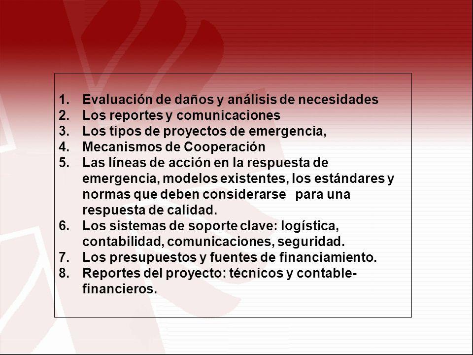 1.Evaluación de daños y análisis de necesidades 2.Los reportes y comunicaciones 3.Los tipos de proyectos de emergencia, 4.Mecanismos de Cooperación 5.