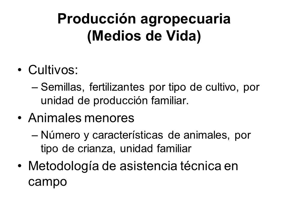 Producción agropecuaria (Medios de Vida) Cultivos: –Semillas, fertilizantes por tipo de cultivo, por unidad de producción familiar. Animales menores –