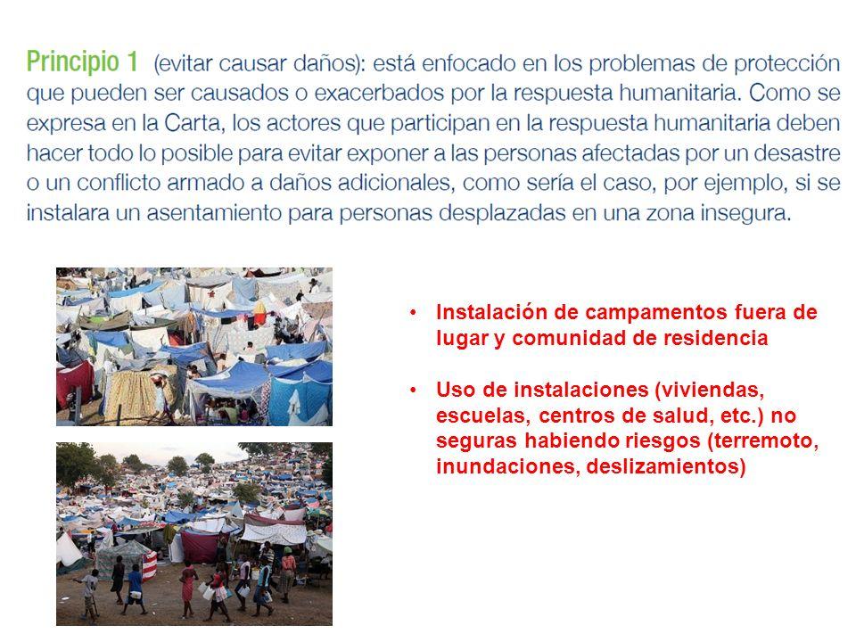 Instalación de campamentos fuera de lugar y comunidad de residencia Uso de instalaciones (viviendas, escuelas, centros de salud, etc.) no seguras habi