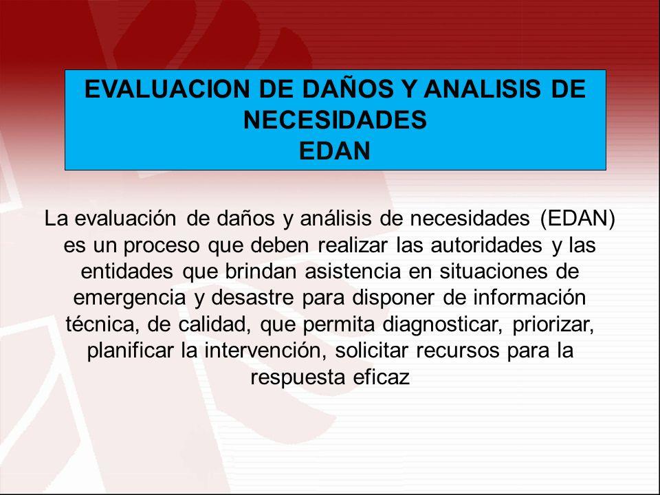 La evaluación de daños y análisis de necesidades (EDAN) es un proceso que deben realizar las autoridades y las entidades que brindan asistencia en sit