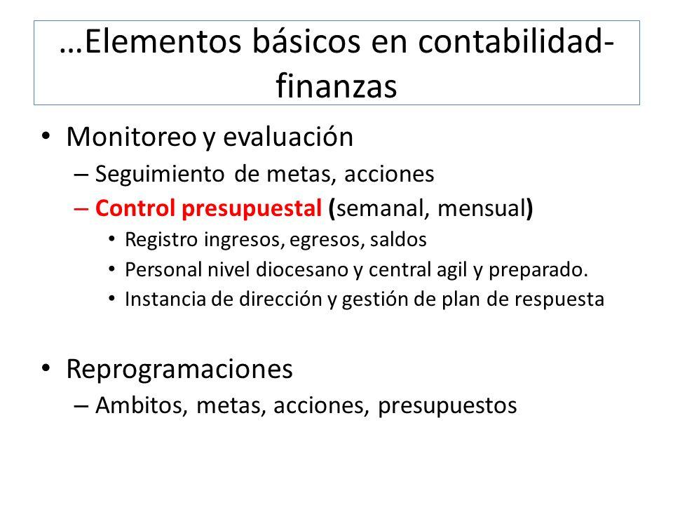…Elementos básicos en contabilidad- finanzas Monitoreo y evaluación – Seguimiento de metas, acciones – Control presupuestal (semanal, mensual) Registr