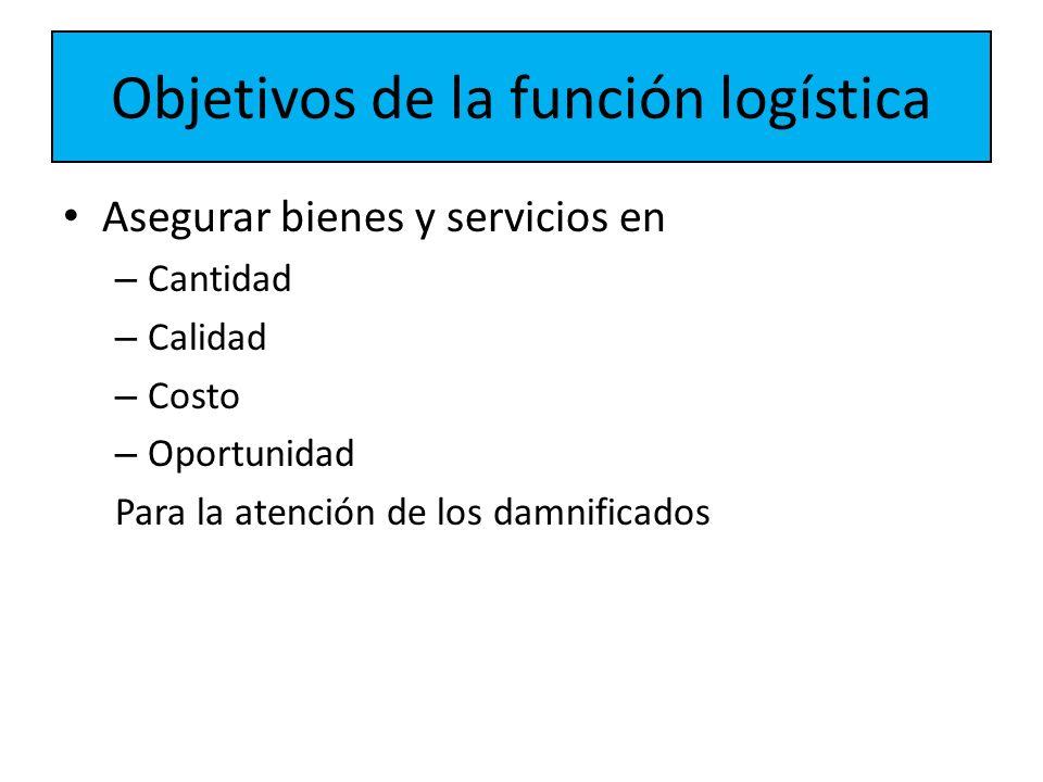 Objetivos de la función logística Asegurar bienes y servicios en – Cantidad – Calidad – Costo – Oportunidad Para la atención de los damnificados