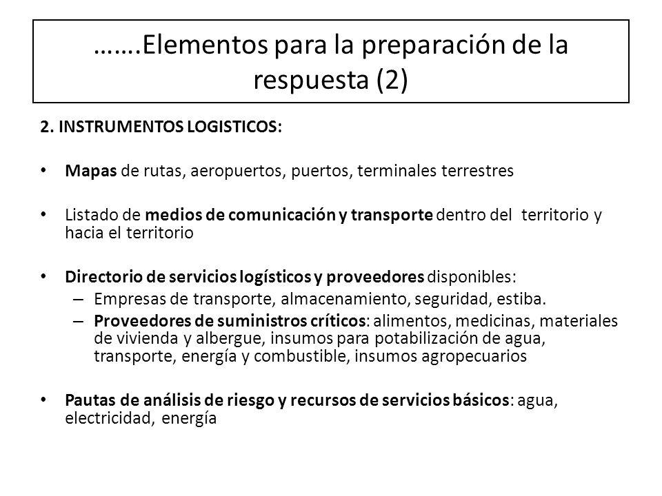 2. INSTRUMENTOS LOGISTICOS: Mapas de rutas, aeropuertos, puertos, terminales terrestres Listado de medios de comunicación y transporte dentro del terr