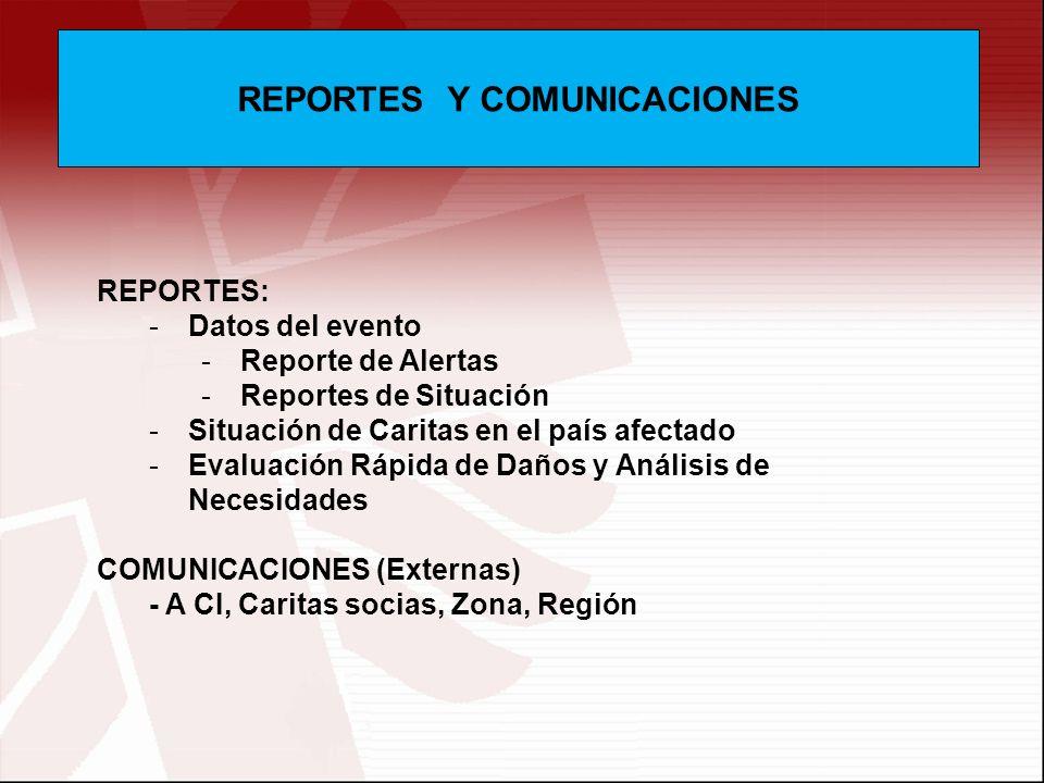 REPORTES Y COMUNICACIONES REPORTES: -Datos del evento -Reporte de Alertas -Reportes de Situación -Situación de Caritas en el país afectado -Evaluación