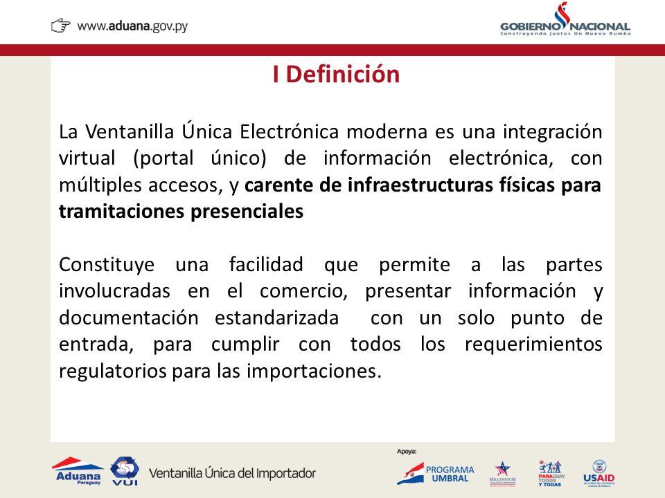 I Definición La Ventanilla Única Electrónica moderna es una integración virtual (portal único) de información electrónica, con múltiples accesos, y ca