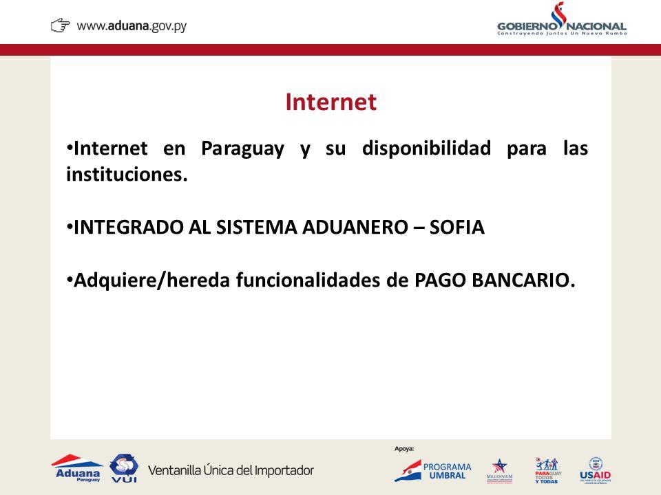 Internet Internet en Paraguay y su disponibilidad para las instituciones. INTEGRADO AL SISTEMA ADUANERO – SOFIA Adquiere/hereda funcionalidades de PAG