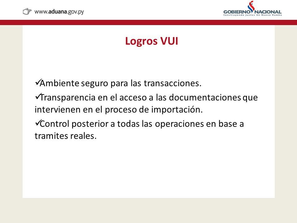 Ambiente seguro para las transacciones. Transparencia en el acceso a las documentaciones que intervienen en el proceso de importación. Control posteri
