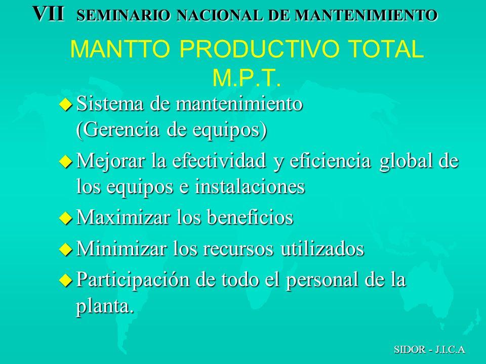 VII SEMINARIO NACIONAL DE MANTENIMIENTO SIDOR - J.I.C.A MANTTO PRODUCTIVO TOTAL M.P.T. u Sistema de mantenimiento (Gerencia de equipos) u Mejorar la e