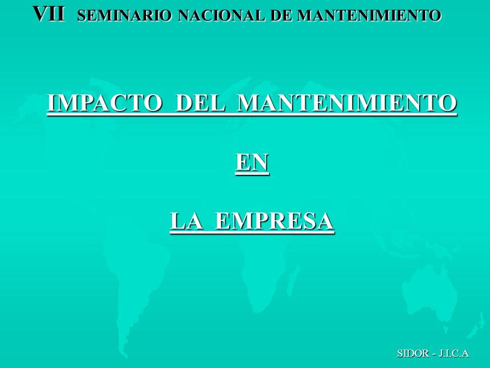 VII SEMINARIO NACIONAL DE MANTENIMIENTO SIDOR - J.I.C.A IMPACTO DEL MANTENIMIENTO EN LA EMPRESA