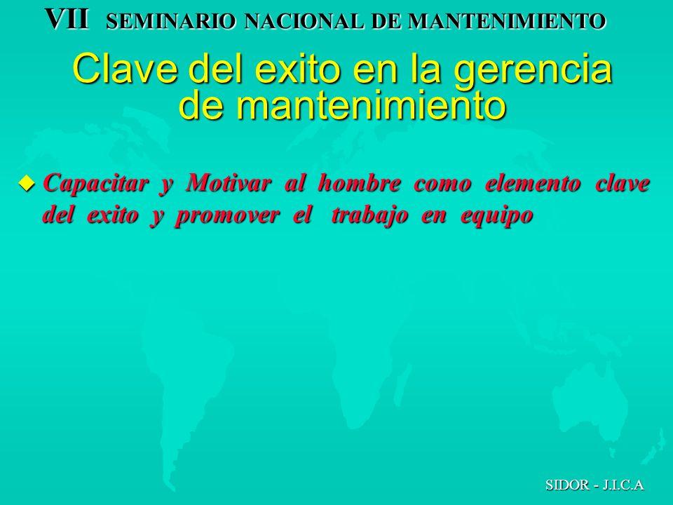 VII SEMINARIO NACIONAL DE MANTENIMIENTO SIDOR - J.I.C.A Clave del exito en la gerencia de mantenimiento u Capacitar y Motivar al hombre como elemento