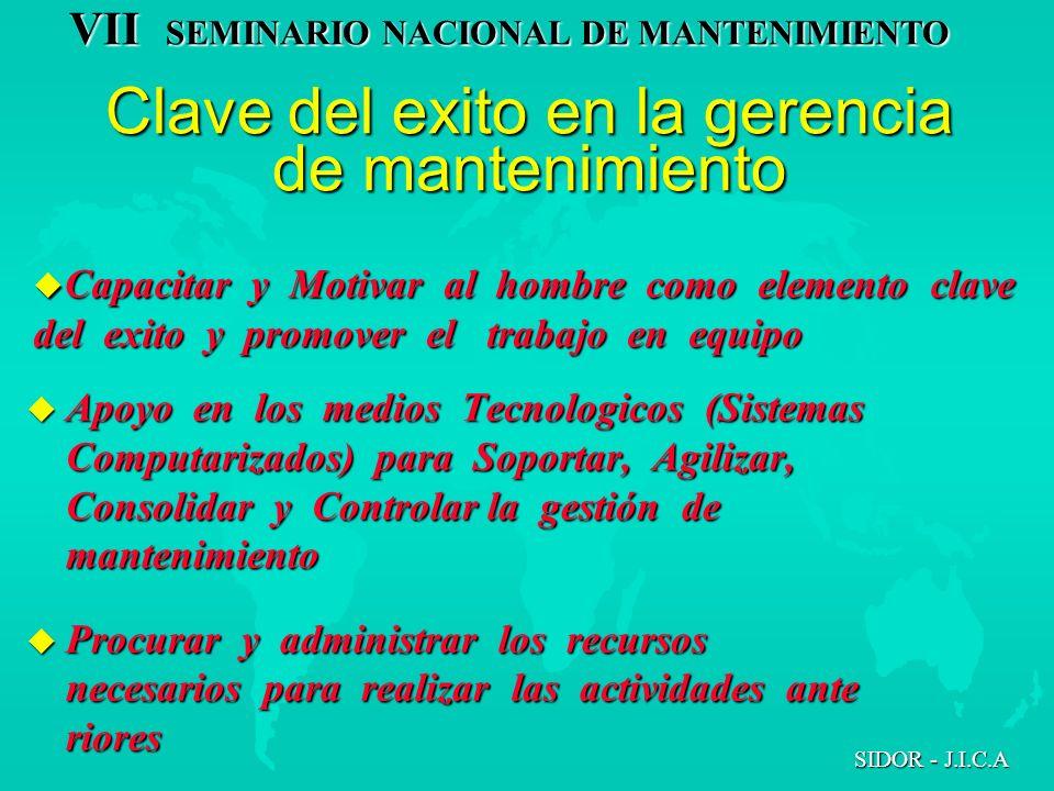 VII SEMINARIO NACIONAL DE MANTENIMIENTO SIDOR - J.I.C.A u Apoyo en los medios Tecnologicos (Sistemas Computarizados) para Soportar, Agilizar, Consolid