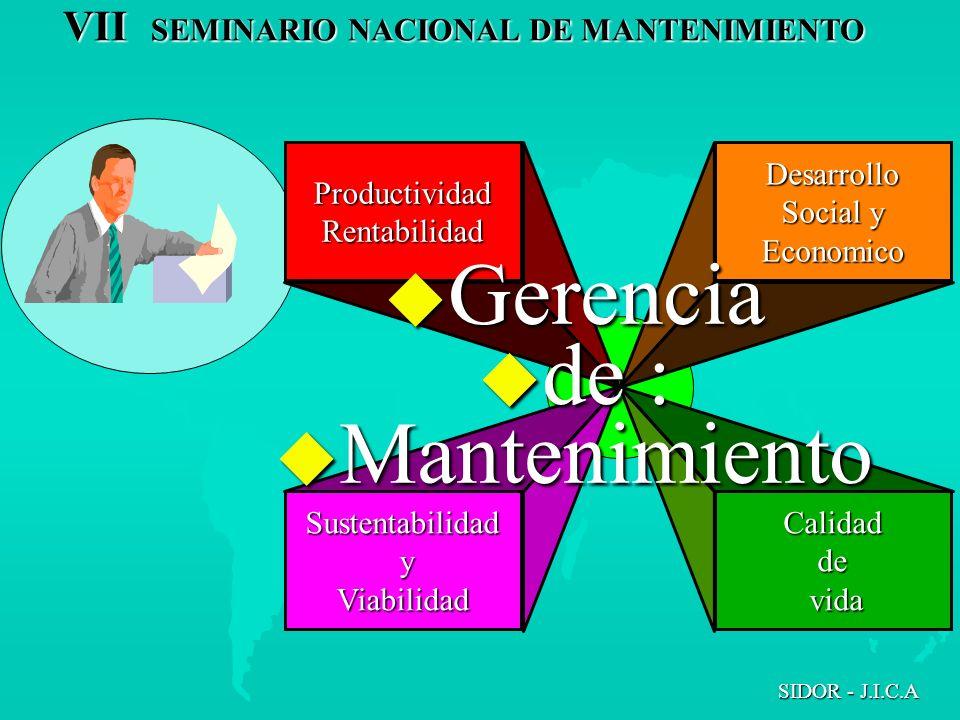 VII SEMINARIO NACIONAL DE MANTENIMIENTO SIDOR - J.I.C.A ProductividadRentabilidad Sustentabilidad yViabilidad Desarrollo Social y Economico Calidadde