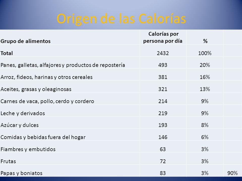 Origen de las Calorías Grupo de alimentos Calorías por persona por día % Total2432100% Panes, galletas, alfajores y productos de repostería49320% Arro
