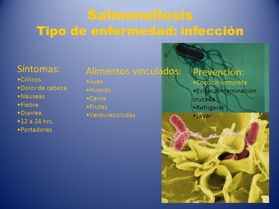5 Salmonellosis Tipo de enfermedad: infección Síntomas: Cólicos Dolor de cabeza Náuseas Fiebre Diarrea 12 a 24 hrs. Portadores Alimentos vinculados: A