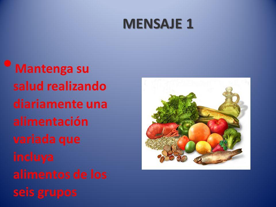 MENSAJE 2 Coma con moderación según las porciones indicadas en cada grupo de alimentos para mantener un peso saludable