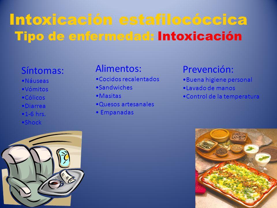 6 Intoxicación estafilocóccica Tipo de enfermedad: Intoxicación Síntomas: Náuseas Vómitos Cólicos Diarrea 1-6 hrs. Shock Alimentos: Cocidos recalentad