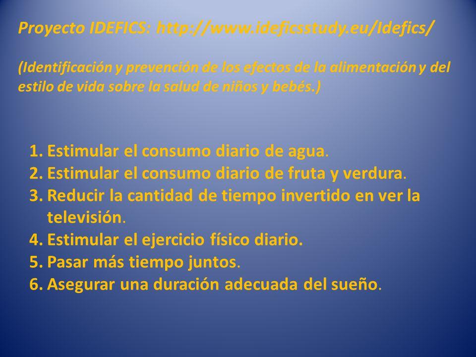 Proyecto IDEFICS: http://www.ideficsstudy.eu/Idefics/ (Identificación y prevención de los efectos de la alimentación y del estilo de vida sobre la sal
