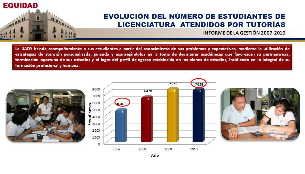EQUIDAD EVOLUCIÓN DEL NÚMERO DE ESTUDIANTES DE LICENCIATURA ATENDIDOS POR TUTORÍAS INFORME DE LA GESTIÓN 2007-2010 La UADY brinda acompañamiento a sus