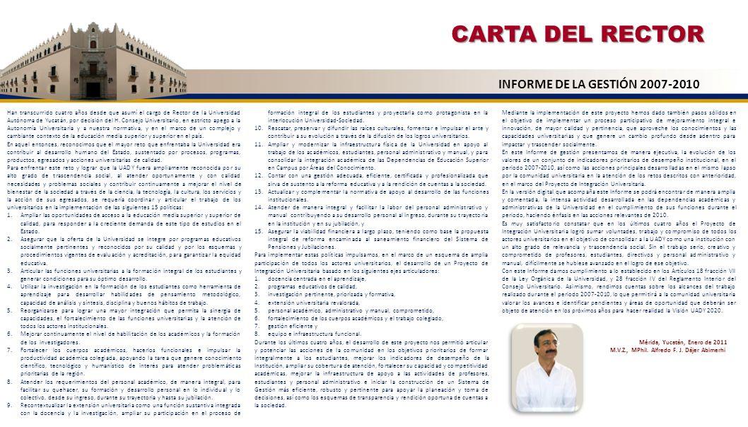 CARTA DEL RECTOR Han transcurrido cuatro años desde que asumí el cargo de Rector de la Universidad Autónoma de Yucatán, por decisión del H. Consejo Un