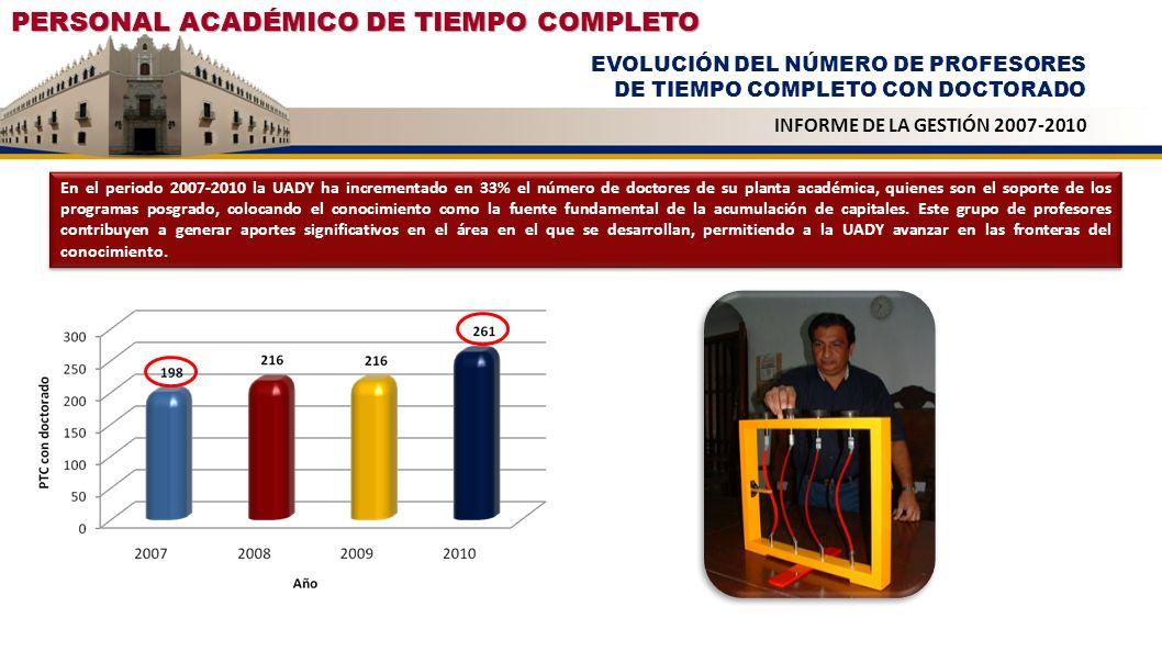 PERSONAL ACADÉMICO DE TIEMPO COMPLETO EVOLUCIÓN DEL NÚMERO DE PROFESORES DE TIEMPO COMPLETO CON DOCTORADO INFORME DE LA GESTIÓN 2007-2010 En el period