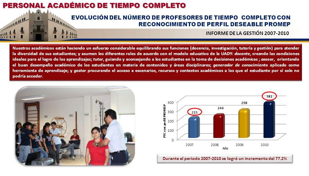 PERSONAL ACADÉMICO DE TIEMPO COMPLETO EVOLUCIÓN DEL NÚMERO DE PROFESORES DE TIEMPO COMPLETO EN EL SISTEMA NACIONAL DE INVESTIGADORES INFORME DE LA GESTIÓN 2007-2010 Como reconocimiento de la calidad y prestigio de las contribuciones científicas de nuestros profesores, en la UADY aumentaron en 36% los profesores de tiempo completo que pertenecen al Sistema Nacional de Investigadores, quienes se consolidan como investigadores con conocimientos científicos y tecnológicos del más alto nivel; elemento fundamental para incrementar la cultura, productividad, competitividad y el bienestar social de la región y del país.
