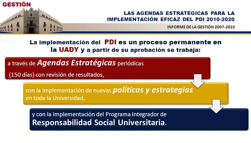 a través de Agendas Estratégicas periódicas (150 días) con revisión de resultados, con la implementación de nuevas políticas y estrategias en toda la